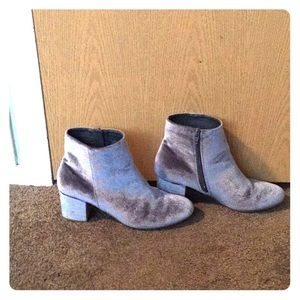 Grey Velvet Ankle Boots - Size 10
